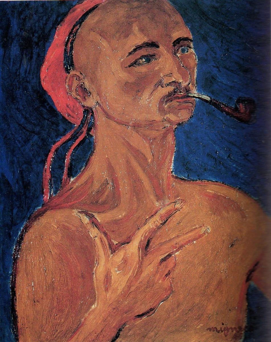 Giuseppe Migneco - Autoritratto con pipa