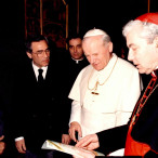 Il Cardinale Pappalardo con Giovanni Paolo II e Giovanni Bonanno