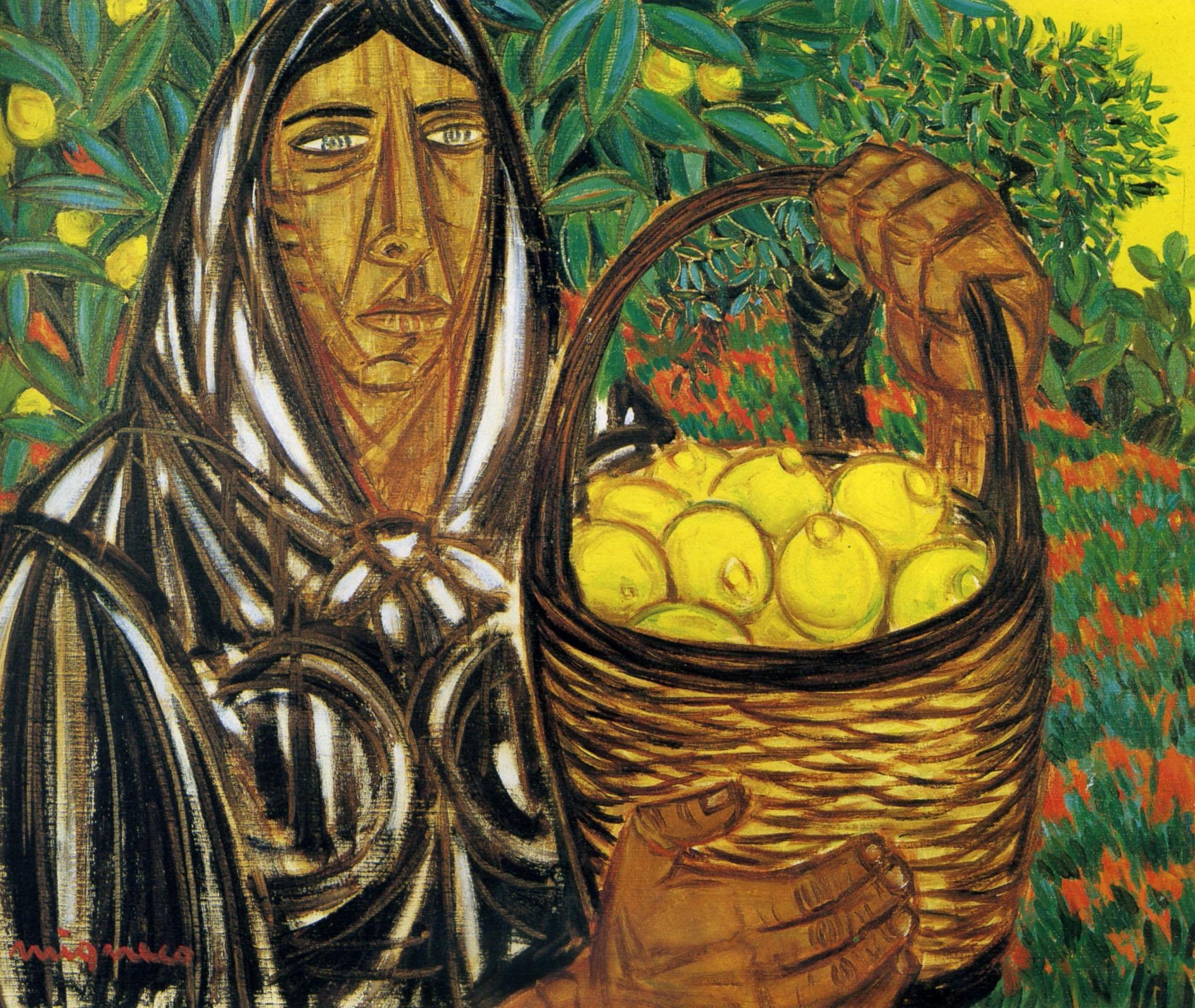 Giuseppe Migneco - Contadina con limoni