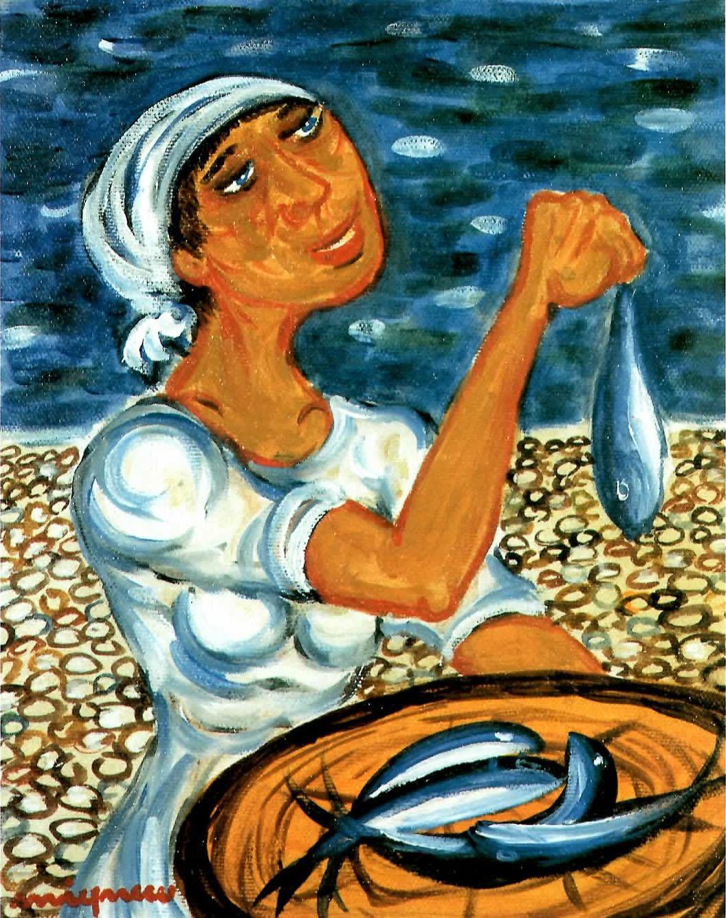 Giuseppe Migneco - Donna con pesce