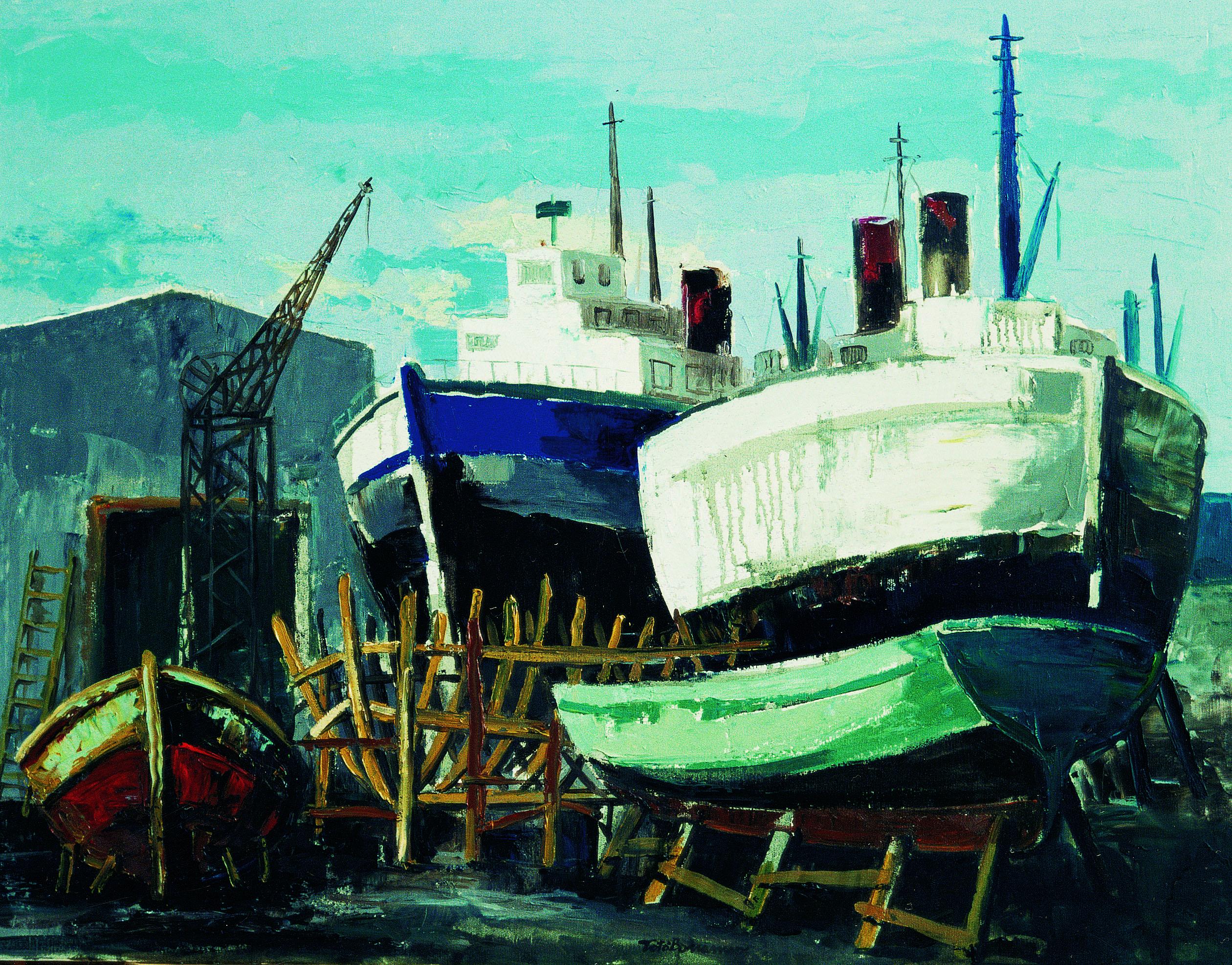 Totò Bonanno - Vecchie barcjhe in cantiere
