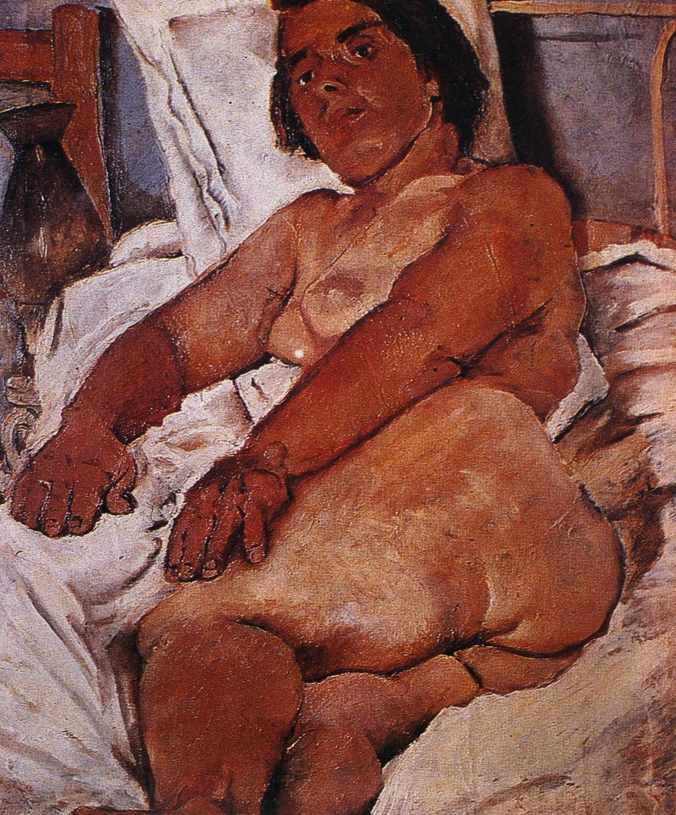 Fausto Pirandello - Nudo su sfondo bianco