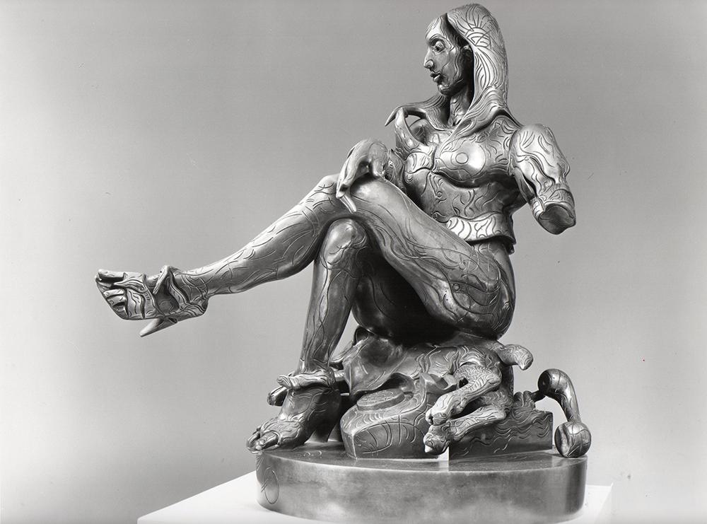 Ragazza e cane, bronzo, 1983