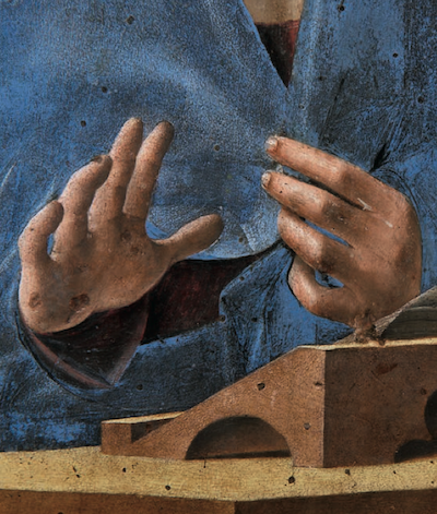 Antonello da Messina, Annunziata , part. delle mani di Maria, Palermo, Galleria Regionale della Sicilia, Palazzo Abatellis
