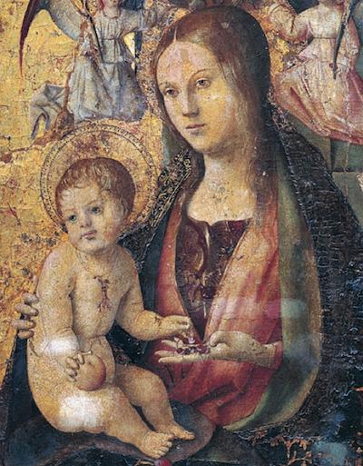 Antonello da Messina- Polittico di San Gregorio, part. di Maria e del Bambino, Messina, Museo Regionale